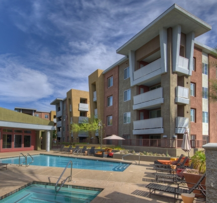 Camden Sotelo apartments pool area in Tempe, Arizona.