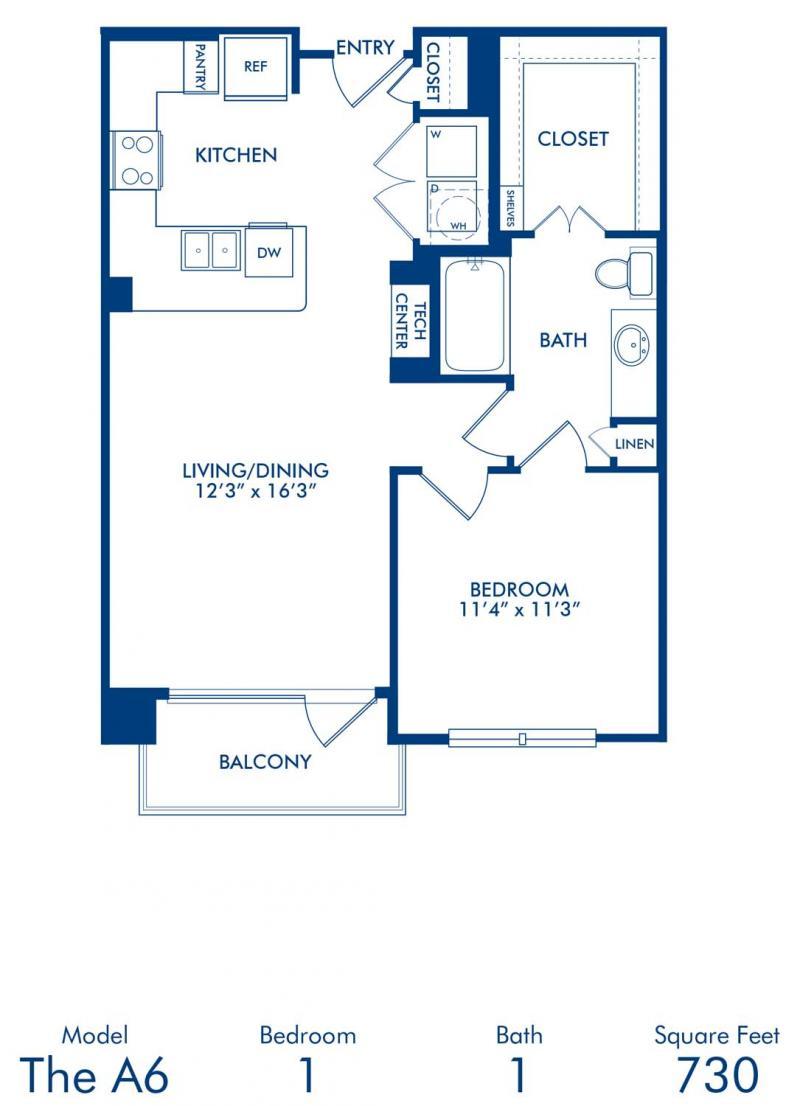 One bedroom at Camden Belleview Station Apartments Denver Colorado floor  plan A6. Studio  1   2 Bedroom Apartments in Denver  CO   Camden Belleview